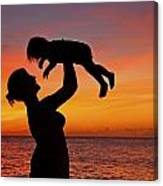 Mother And Child Sunset Silhouette Canvas Print