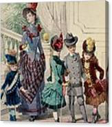 Mother And Children In Indoor Costume Canvas Print