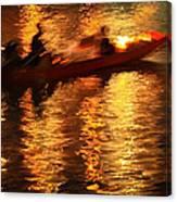 Motion Blur Photo Of Bangkok Local Speed Boat On Chao Phra Ya Ri Canvas Print