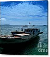 Motor Boats Docked At The Pier Canvas Print