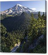 Mount Rainier Surrounded By Forest Canvas Print