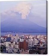 Mount Sakurajima Erupting In Front Of Canvas Print