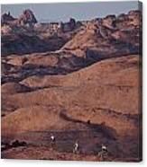Mountain Bike Riders On Slickrock Trail Canvas Print