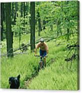 Mountain Biker And Dog On Single Track Canvas Print