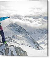Mountain Guide Snowboard Instructor Pointing Out Peaks In Davos Canvas Print
