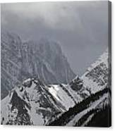 Mountain Peaks In Clouds, Spray Lakes Canvas Print