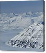 Mountains And Glaciers Near Ny Alesund Canvas Print
