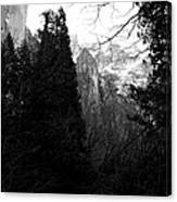 Mountains Of Yosemite . 7d6214 . Black And White Canvas Print