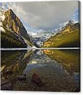 Mountains Reflected In Lake Louise Canvas Print