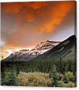 Mt. Amery And Dramatic Clouds, Banff Canvas Print