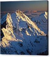 Mt Cook Or Aoraki And Mt Tasman, Aerial Canvas Print