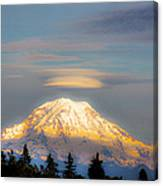 Mt Rainier Sunset With Lenticular Clouds Canvas Print