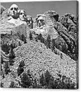 Mt. Rushmore Full View In Black And White Canvas Print
