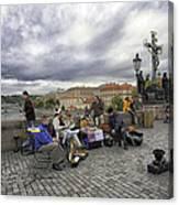 Musicians On The Charles Bridge - Prague Canvas Print