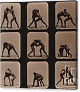 Muybridge Locomotion, Men Wrestling Canvas Print