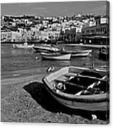 Mykonos Boats Canvas Print