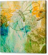 Mystical Garden - Golden Butterflies Canvas Print