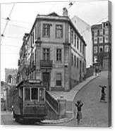 Narrow Streets And Streetcar In Lisbon Canvas Print