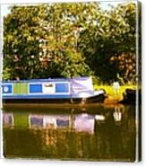 Narrowboat In Blue Canvas Print
