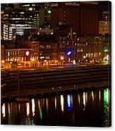 Nashville River Front By Night 1 Canvas Print