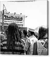 Nathan's Crowd In Coney Island 2 Canvas Print