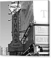 Nathan's Famous At Coney Island In Black And White Canvas Print