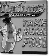 Nathan's Famous In Black And White Canvas Print