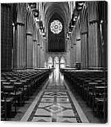 National Cathedral Interior Bw Canvas Print