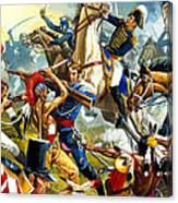 Native American Indians Vs American Soldiers Canvas Print