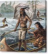 Native Americans/fishing Canvas Print