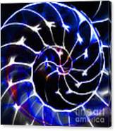 Nautilus Shell Ying And Yang - Electric - V1 - Blue Canvas Print