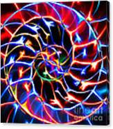 Nautilus Shell Ying And Yang - Electric - V2 - Blue Canvas Print
