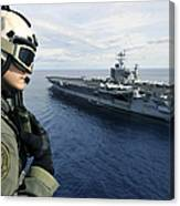 Naval Air Crewman Conducts A Visual Canvas Print