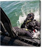 Navy Diver Dives Into San Diego Bay Canvas Print