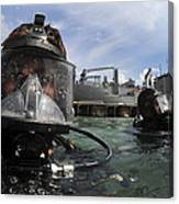 Navy Diver Wearing A Mk-20 Diving Mask Canvas Print