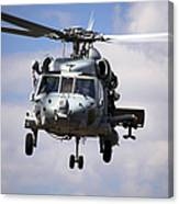 Navy Pilots In A Sh-60f Seahawk Conduct Canvas Print