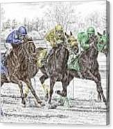 Neck And Neck - Horse Race Print Color Tinted Canvas Print