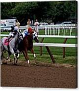 Neck And Neck At Saratoga Two Canvas Print