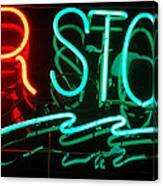 Neon Bar Stools Canvas Print