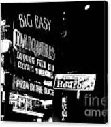 Neon Sign Bourbon Street Corner French Quarter New Orleans Black And White Conte Crayon Digital Art Canvas Print