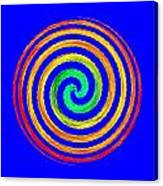 Neon Spiral Blue Canvas Print