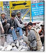Nepali Labourers At Devraprayag Canvas Print