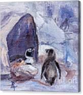 Nesting Penguins Canvas Print