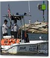 New Buffalo Michigan Police Boat Patrolling Harbor Canvas Print