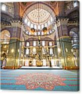 New Mosque Interior In Istanbul Canvas Print