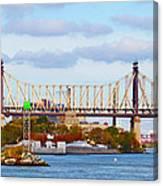 New York Bridge Water View Canvas Print