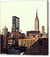 New York City Rooftops And The Empire State Building Canvas Print