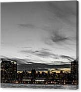 New Yorks Skyline At Night Colorkey Canvas Print