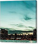 New Yorks Skyline At Night Ice 1 Canvas Print