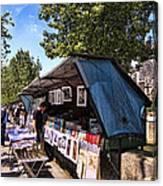 Newstand Along The Seine Canvas Print